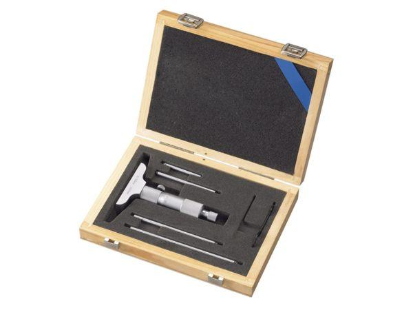 Mikrometrický hloubkoměr s vým.nástavci 0 ÷ 100 / 0,01 mm