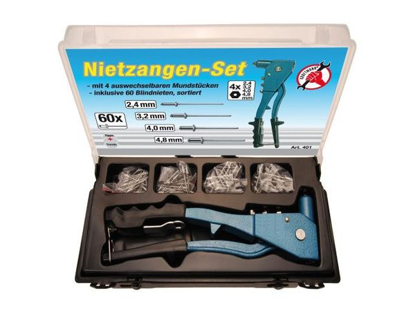 Nýtovací kleště Kraftmann 250 mm BGS100401, 2,4 ÷ 4,8 mm. Sada v kazetě