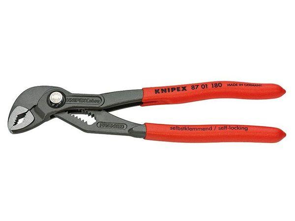 Kleště na trubky Cobra 180 mm KNIPEX 87 01 180 DIN ISO 8976 - leštěná hlava, plastové návleky