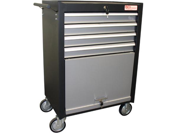 Montážní pojízdný vozík BGS102004 4 zásuvky, 1 sklopná přihrádka. Prázdný