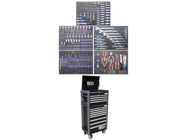 Dílenský montážní vozík Profi Standard MAXI BGS104088 - černý. 12 zásuvek s vybavením 263 dílů