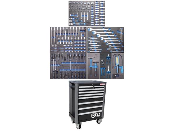 Dílenský montážní vozík Profi Standard BGS104113 - černý. 8 zásuvek s vybavením 234 dílů