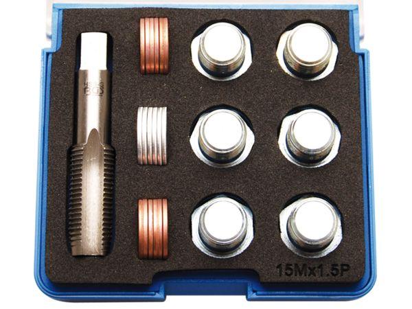 Sada na opravu závitů olejových van M15 x 1,5 mm BGS100157 (25 dílů)