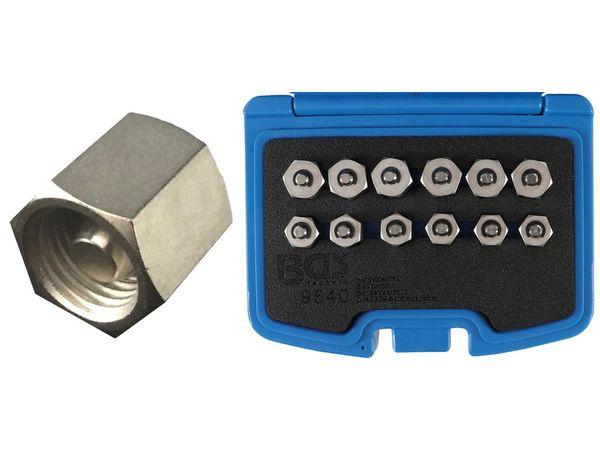 Zátky vstřikovače M12 x 1,5 a M14 x 1,5 mm BGS109540 Sada 12 dílů